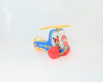 Vintage Fisher Price Wooden Helicopter Pull Toy, Fisher Price Toys