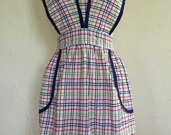 Vintage Red, Green, Navy Plaid Halter Apron with Navy Trim