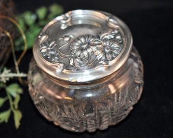 """Sterling Silver Powder Jar, As is, Antique dresser jar, Vintage silver, Sterling Lid, Engraved """"LB"""", #1644"""