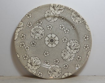 Antique Aesthetic Brown Transferware Plate