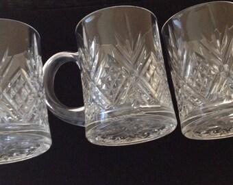 Beautiful set of 3 Crystal Coffee Mugs-Pineapple Pattern
