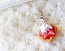 Strawberries 'n Cream Waffle - Stitch Marker - Progress Keeper - Zipper Pull - Planner Charm - Made to Order