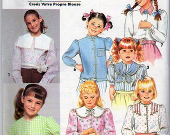 Simplicity 7590, Girls Size 8 to 14, Blouses Pattern, 7 Blouse Variations, Long Sleeves, Short Sleeves, Collar Variations, Button Cuff