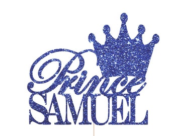 Royal Prince Baby Shower Decorations, Prince Crown Cake Topper, Royal Prince Theme, Prince Birthday Party, Blue Crown Cake Topper