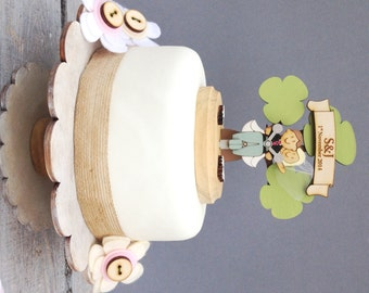 Scooter wedding topper - shabby chic style personalised cake topper