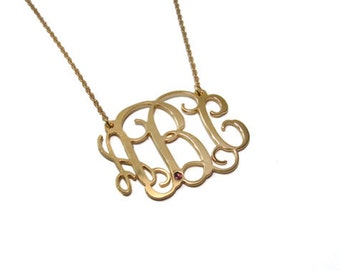 """Monogram Necklace 1.25"""" Personalized. Birthstone monogram necklace. Gold plated sterling silver 925. Monogram jewelry. Birthstone necklace."""