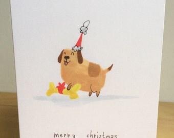 Dog with a mystery gift — handmade A6 Christmas card