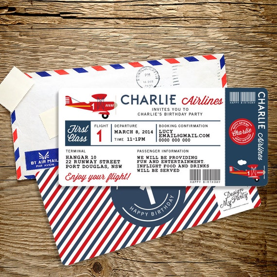 Airplane Ticket Boarding Pass Birthday Invitation: Airline Plane Ticket Birthday Invitation By DesignMyPartyShop