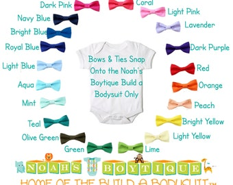 Solid Baby Bow Ties for Noah's Boytique Build a Bodysuit - Snap On Bow Ties - Bow Ties for Babies - Bow Tie Outfit - Red - Blue - Green