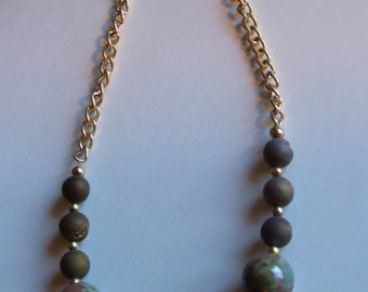 Khaki green and brown necklace 0408NK