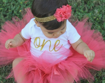 First Birthday Outfit Girl...Birthday Tutu Outfit...Coral and Gold First Birthday Outfit...Coral Tutu Bodysuit Headband Set...1st Birthday