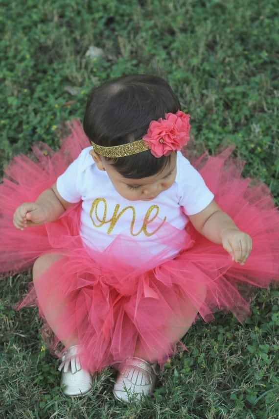 First Birthday Outfit Girl Birthday Tutu Outfit Coral And