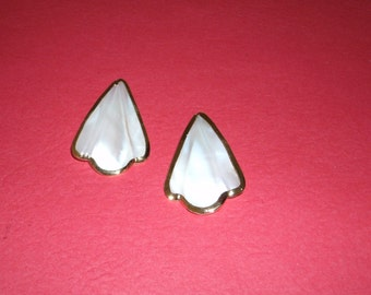 Vintage Mother of Pearl Gold Trimmed Stud Earrings