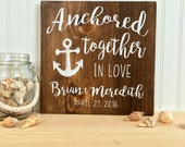 Wedding Sign / Anchored In Love / Nautical Decor / Personalized Gift / Rustic Wood Sign / Wood Anniversary