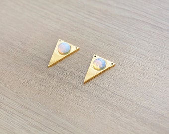 1 pcs of Opalite stainless steel triangle gold plated pendant
