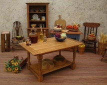 """5"""" Rustic Plank Top Kitchen Work Table 1 Inch Scale Miniature Dollhouse Furniture"""