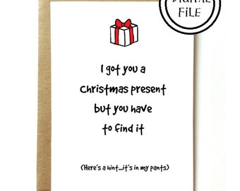PRINTABLE - Sexy last minute Christmas gift / card for wife, girlfriend, husband, boyfriend. INSTANT DOWNLOAD