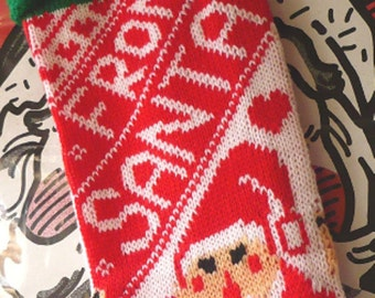 Vintage Christmas Knit Stocking From Santa