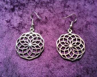 Star of life earrings in Bronze, flower of life, sacred geometry
