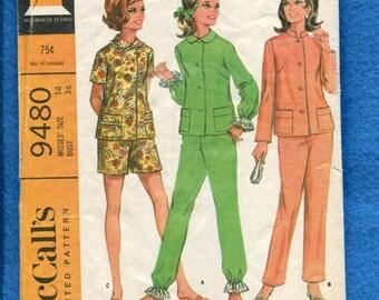 1960's McCall's 9480 Asian & Peter Pan Collar Pajamas Pattern Size 14