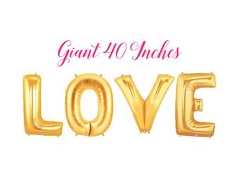 Love Balloons, Gold Banner, Wedding Balloons, Bridal Shower, Giant Gold Balloons, Bridal Shower, Custom Balloons, Love Banner, Photo Prop
