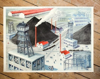 vintage french school chart from the 1950's: The hydroelectric factory and the charcoal mine