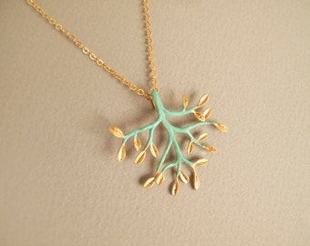 Turquoise Gold Branch Necklace - Gift for Her