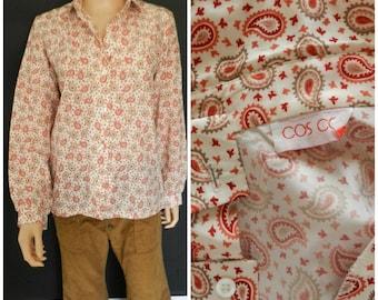 70's POLYESTER silky PAISLEY cream orange + pink Hippie blouse shirt u.k. 12 - 14 M