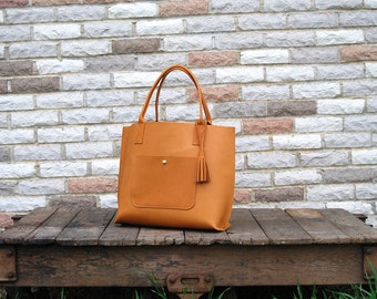 Everyday tote bag w/ Pocket - Large leather tote // Handmade Leather Purse