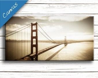 Golden Gate Bridge art, Large Canvas art, San Francisco canvas, Coastal art, Home decor wall art, Living room decor // Golden Gate Bridge
