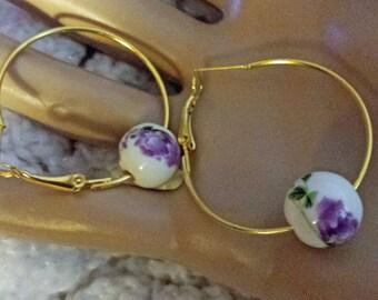 Painted Ceramic Bead Earring Hoops. (E 466)