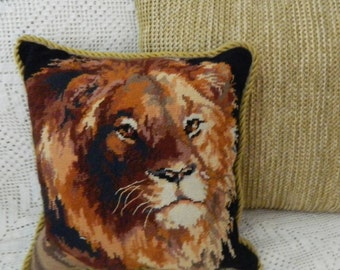 Vintage tapestry LION pillow