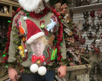 BUTT UGLY Christmas Sweater Light Up Funny 3-D Tacky