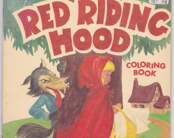 1960s Modern Promotions Little Red Riding Hood UNUSED Vintage Coloring Book 29076