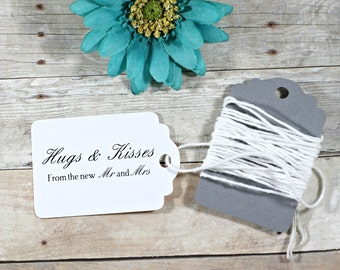 White Thank You Tags Set of 20 - White Wedding Favor Tags - White Wedding Ideas - Hugs and Kisses from the new Mr and Mrs - Wedding Labels