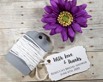 White Wedding Favor Tags set of 20 - Personalized Wedding Tags - Custom Favors - With Love & Thanks - White Bridal Shower - Thank You Tags
