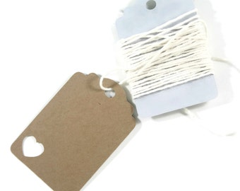 Kraft Brown Heart Wedding Tags Set of 20 - Blank Kraft Brown Tags with Heart Cut Out - Wish Tree - Baby Shower - Bridal Shower - Favor Tags