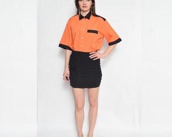 Vintage 90's Color Block Button Shirt / Orange And Black Shirt / Orange Short Sleeve Top