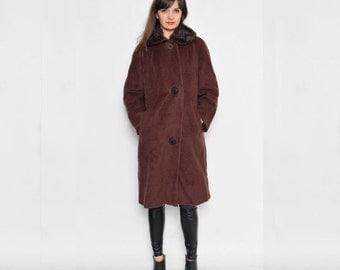 Vintage 80's Wool Brown Coat With Fur Collar