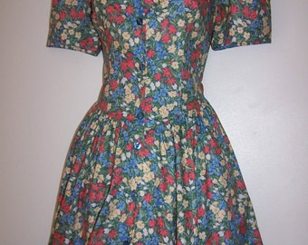 Laura Ashley vintage summer'95 woodland floral, front buttoned tea dress, size 12 UK