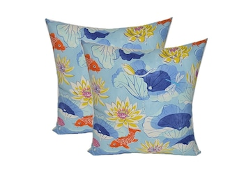 SET OF 2 - Indoor / Outdoor Decorative Square Throw Pillows - Lotus Lake Cobalt Koi Fish - Blue Orange Yellow