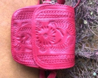 Red Tooled Leather Purse from Paraguay