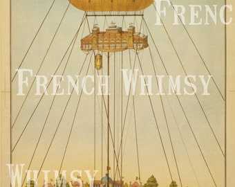 Antique French Hot Air Balloon Image from the Exposition Universelle 1894 - Printable Wall Art  Instant Digital Download