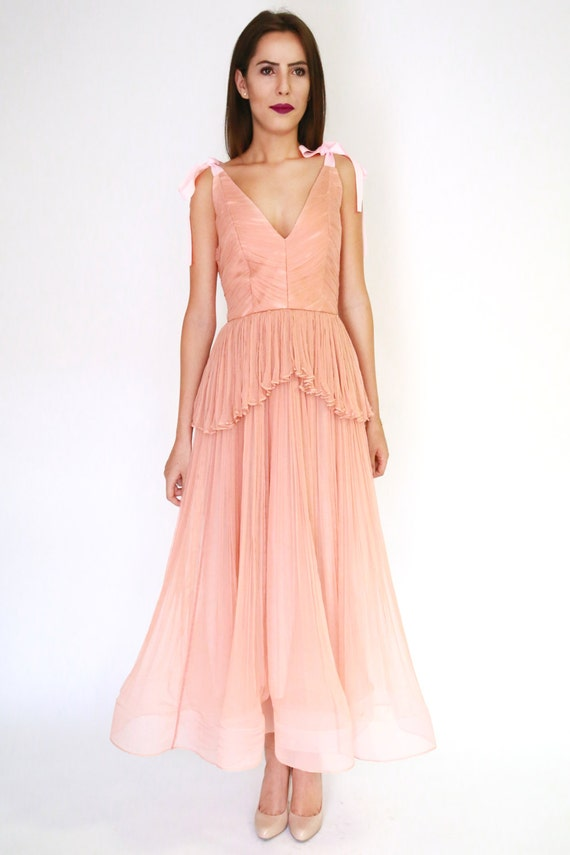 Salmon Blush Tea Length Silk Wedding Gown Pleated Dress Boho Style