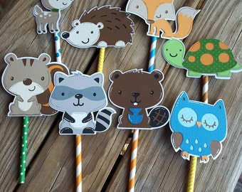 Woodland Animal Cupcake Toppers, Squirrel Hedgehog Owl Deer Raccoon Turtle