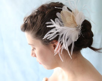 Moon Burst Feather Wedding Hair Accessory Great Gatsby Style French Net Bridal Veil