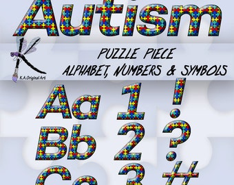 Digital Puzzle Piece Autism Alphabet Clipart. letters, numbers & symbols.  Instant Download