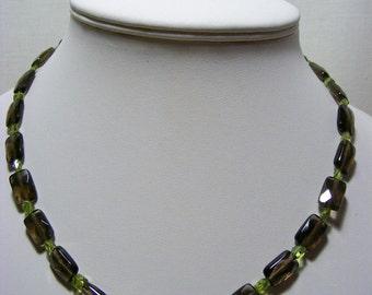 Smokey Quartz and Peridot Jewellery Set