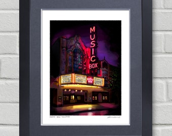 Chicago art - Music Box Theatre - Painting of a piece of Chicago history