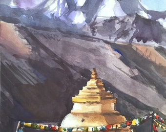 Mount Kantega, Himalaya, Nepal Watercolor Painting, Himalaya Painting - Original Watercolor Painting, Himalayas, Himalaya Mountain